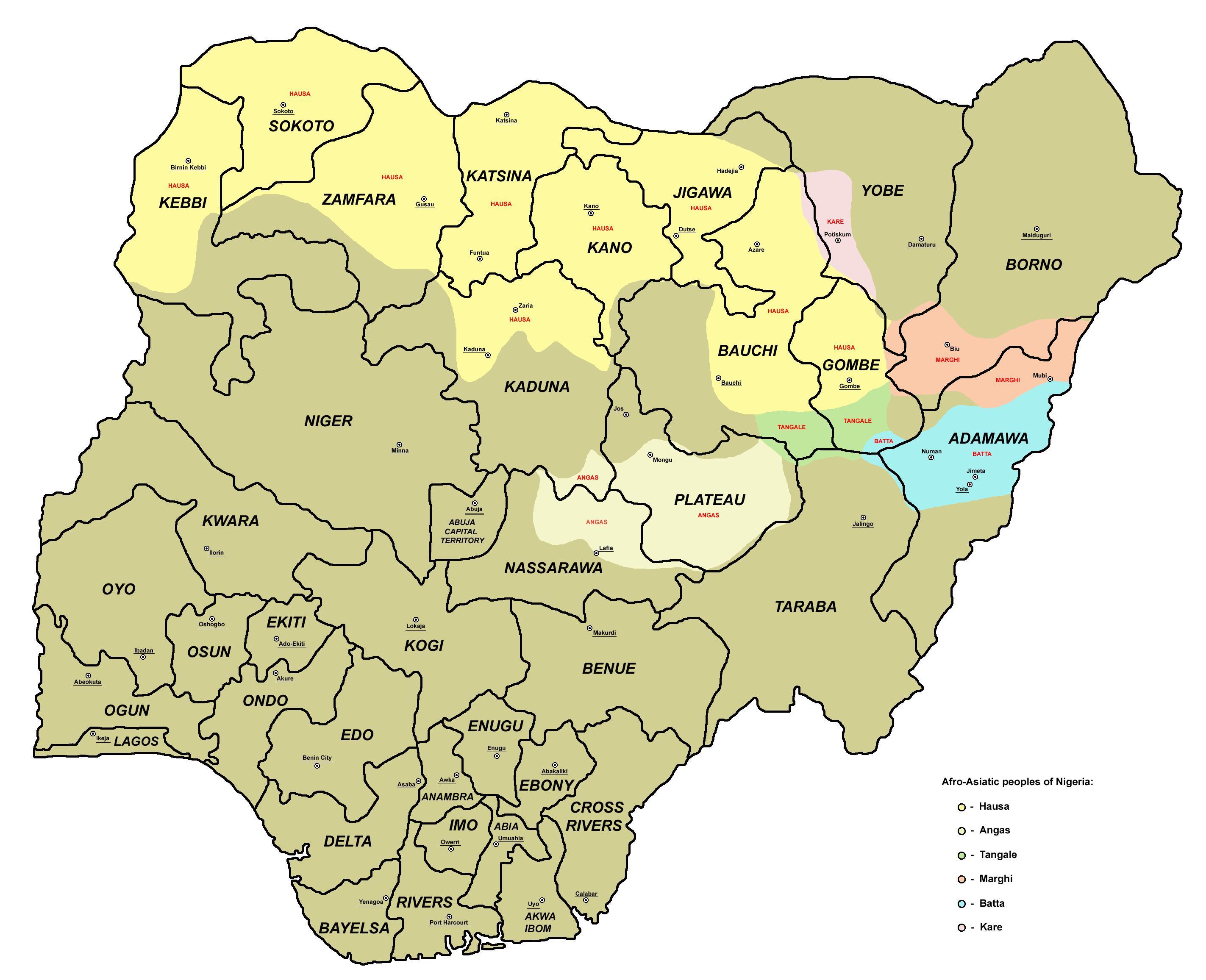 Cartina Africa Con Stati E Capitali.Mappa Della Nigeria Con 36 Stati E Capitali Mappa Della